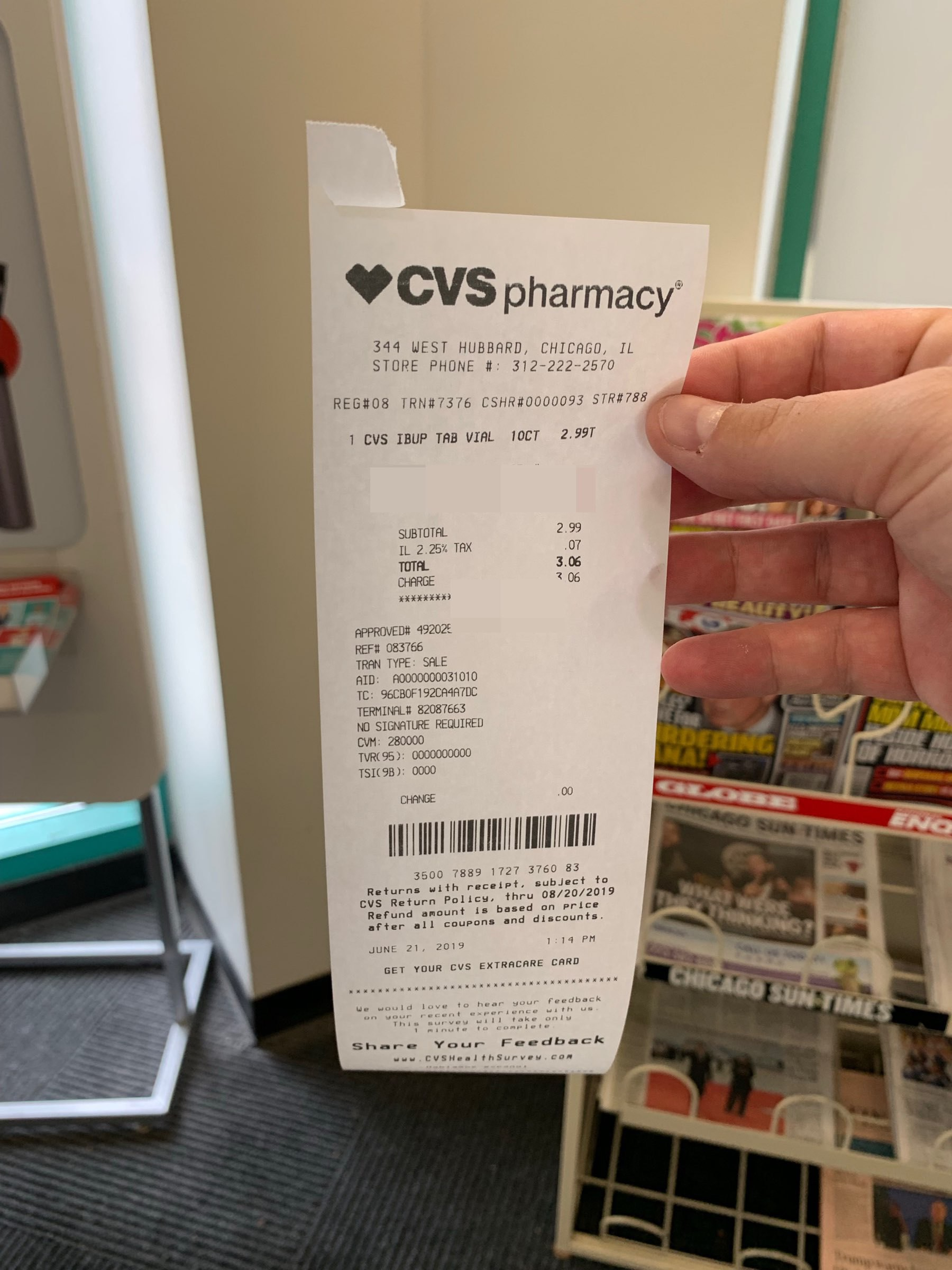 A photo of the CVS receipt that is surprisingly short
